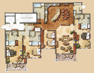 Sample floor plans the residences at the chateaux - Lay outs penthouse ...